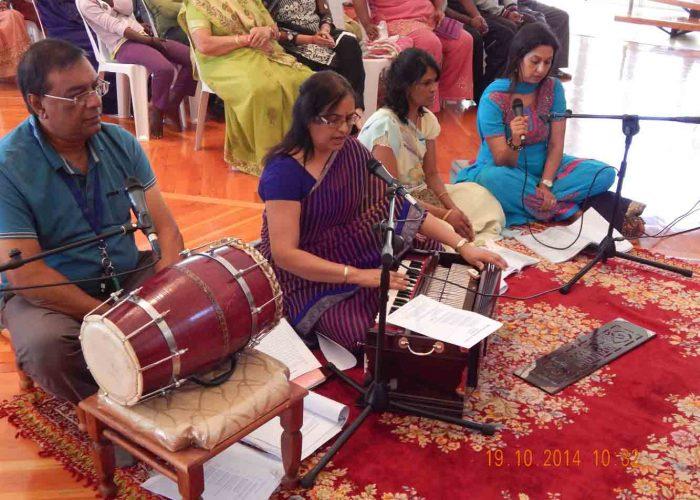 SRKT satsang group rendering bhajans at Diwali outreach programm