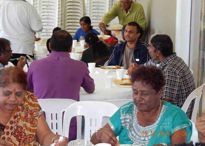 Families enjoying lunch at Diwali function