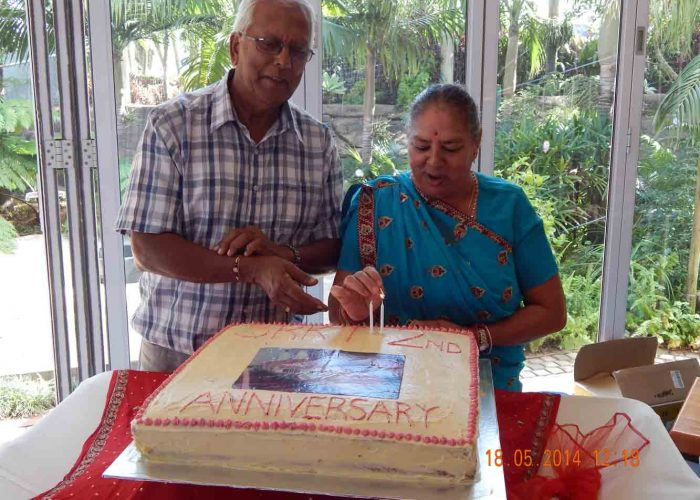 Mr and Mrs Komal lighting the candles for the SRKT 2nd Anniversa